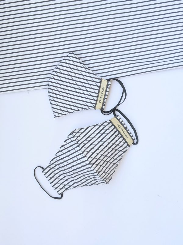 Pin striped quilted facemask