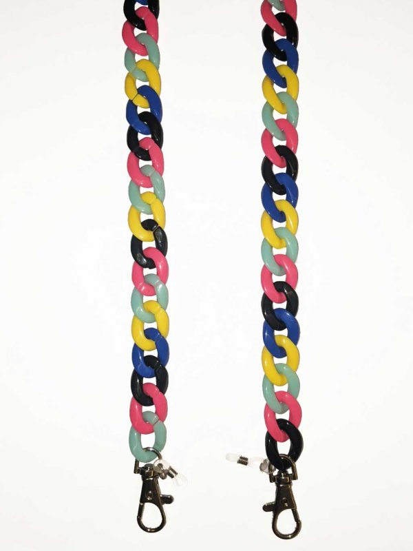 Acetate Mask Chain with lobster closures for masks and Rubber loops for Sunglasses