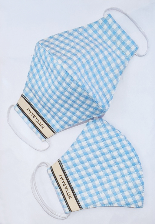 Powder Blue Chequered quilted facemask